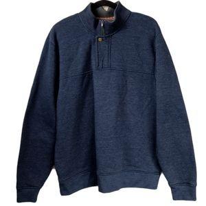 Orvis blue XL metal snap quarter zip sweatshirt